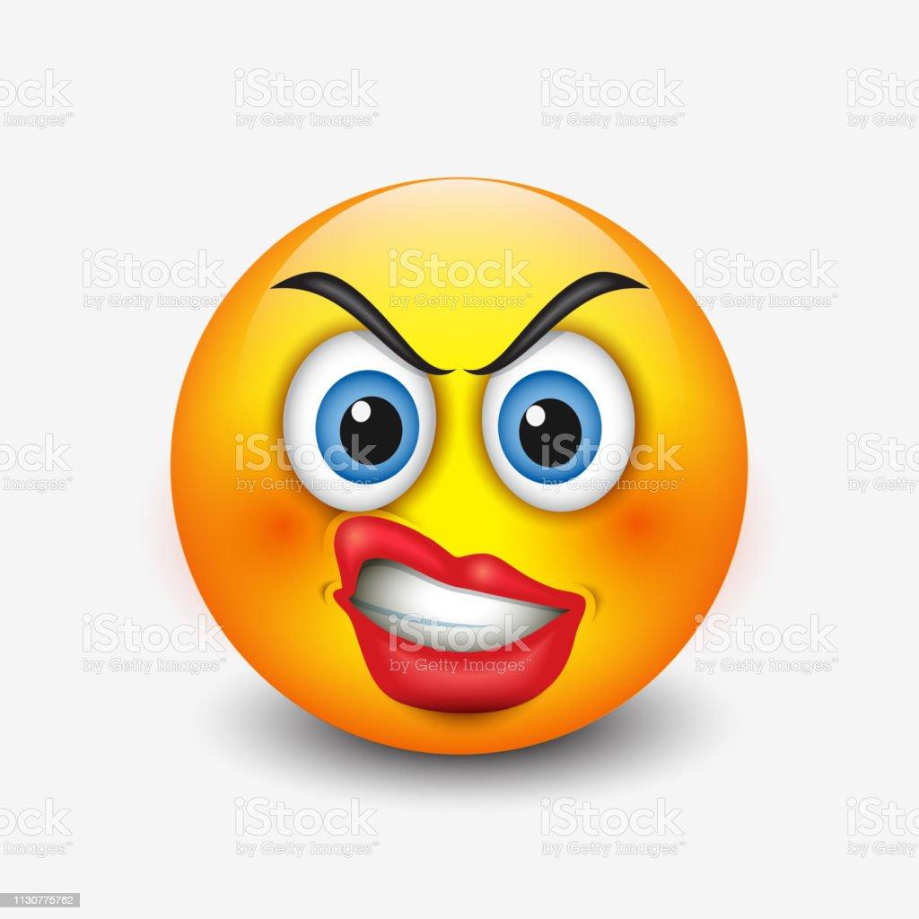 Emoticone Fache Avec Des Levres Boucles Emoji Smileyillustration Vectorielle Vecteurs Libres De Droits Et Plus D Images Vectorielles De Balle Ou Ballon Istock