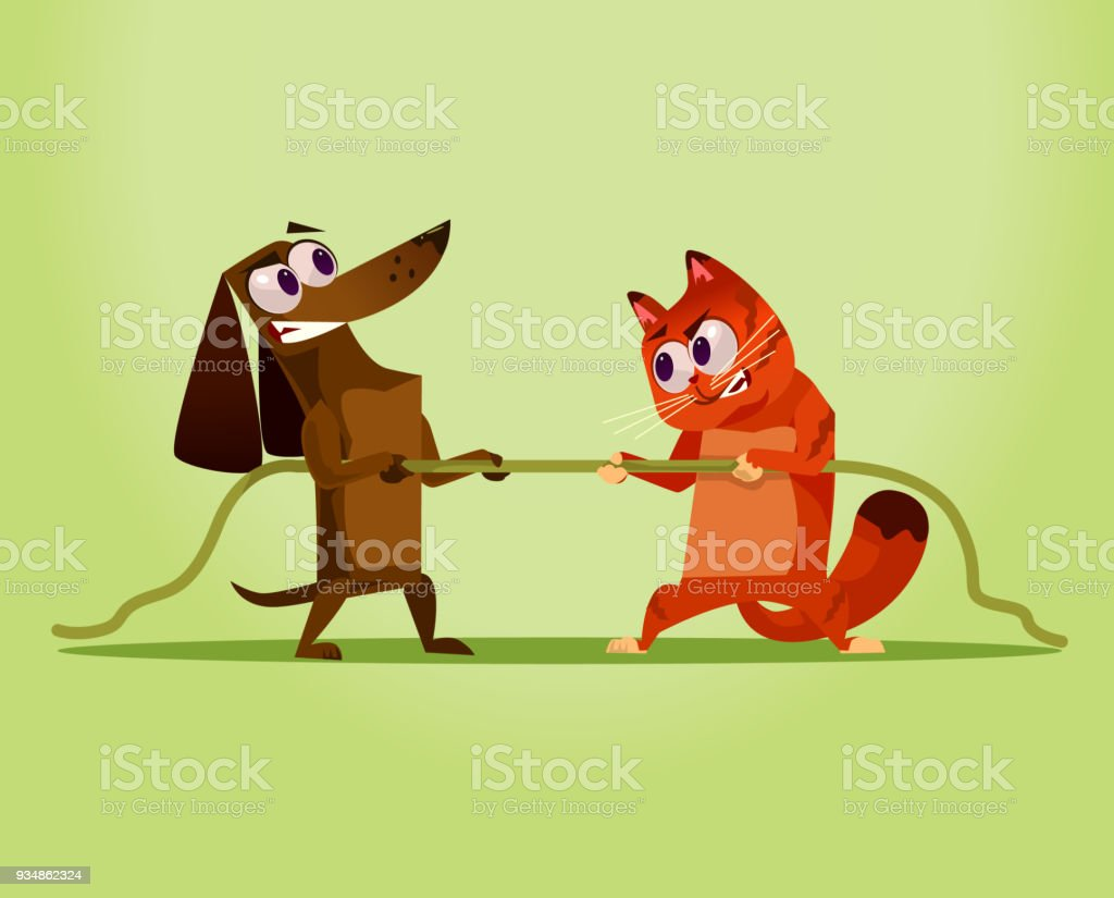 Angry enemy domestic Cat vs Dog. Competition war opposition concept vector art illustration