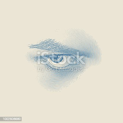 Engraving illustration of an angry eye