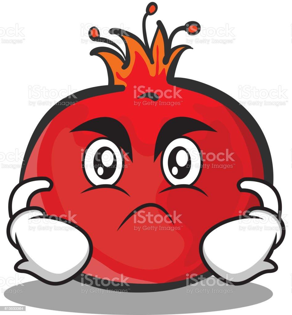 Kızgın Yüz Nar Karikatür Karakter Stili Vektör Sanat Stok Vektör