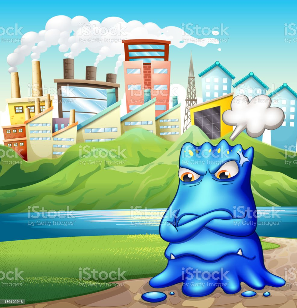 angry fat blue monster in the city royalty-free stock vector art
