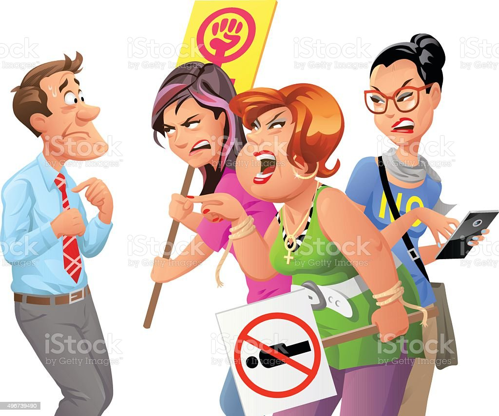 Angry Feminist Protesters Yelling At Man vector art illustration