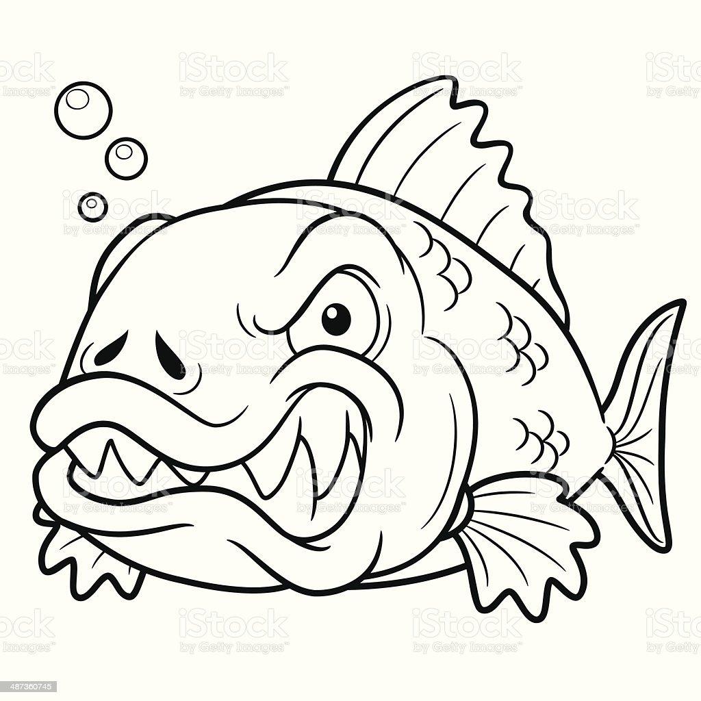 カットイラスト怒っている魚 ぬりえブックのベクターアート素材や画像