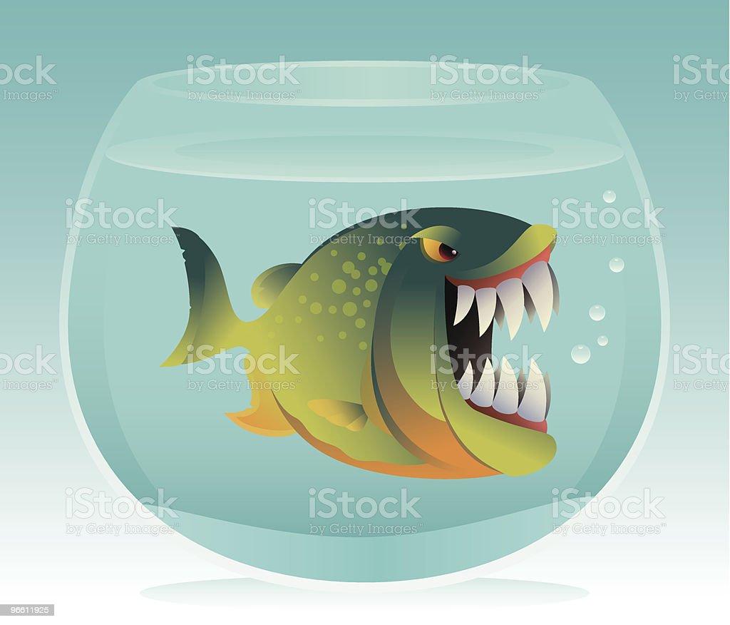 angry fish in aquarium - Royaltyfri Aggression vektorgrafik
