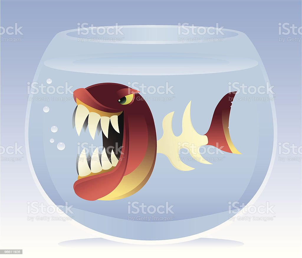 angry fish with bone body - Royalty-free Aggression stock vector