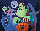 vector illustration of angry frankenstein and friends