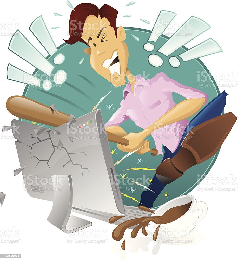 angry frustrated man destroying his computer vector art illustration