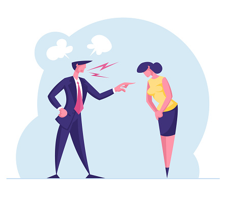 Angry Furious Boss Characters Scolding and Rebuking Incompetent Female Employee. Dissatisfied Ceo Shouting on Businesswoman at Workplace, Stress Situation in Office. Cartoon People Vector Illustration