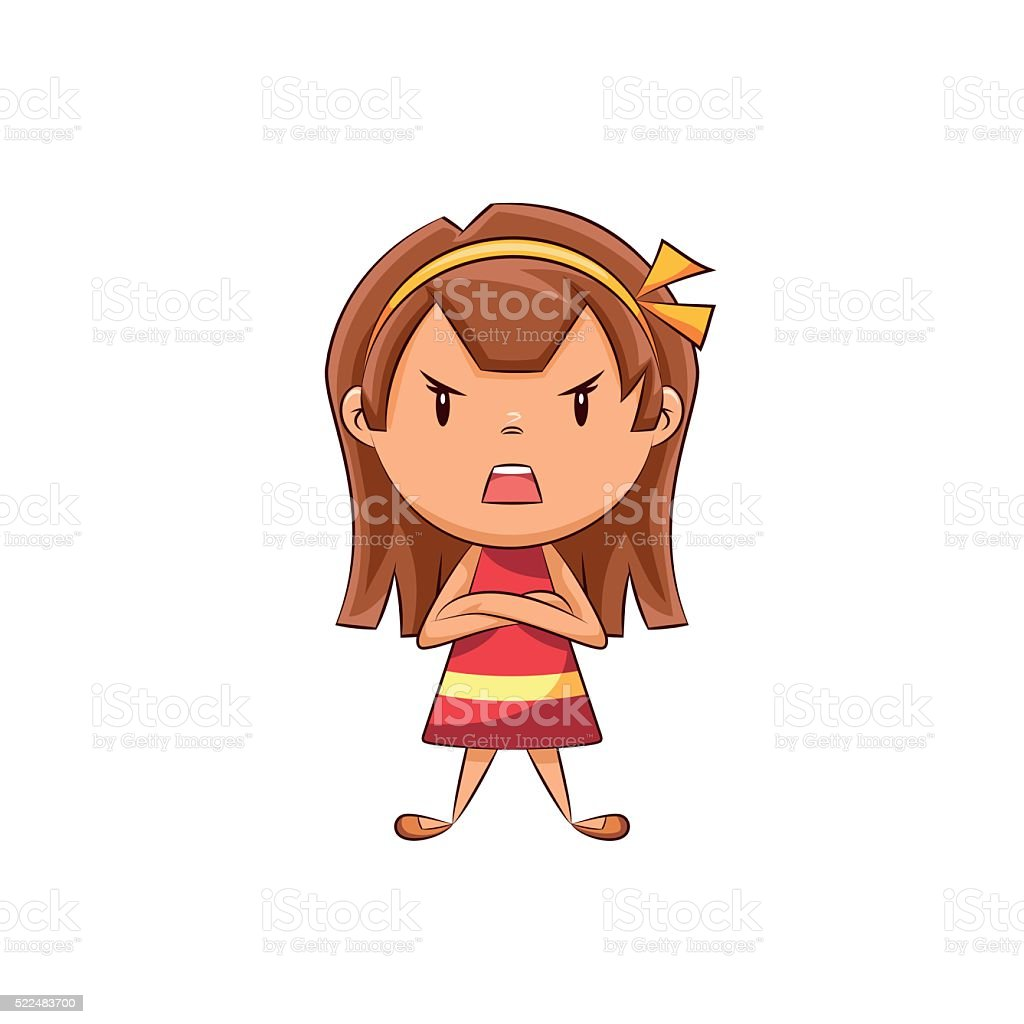 Angry girl vector art illustration