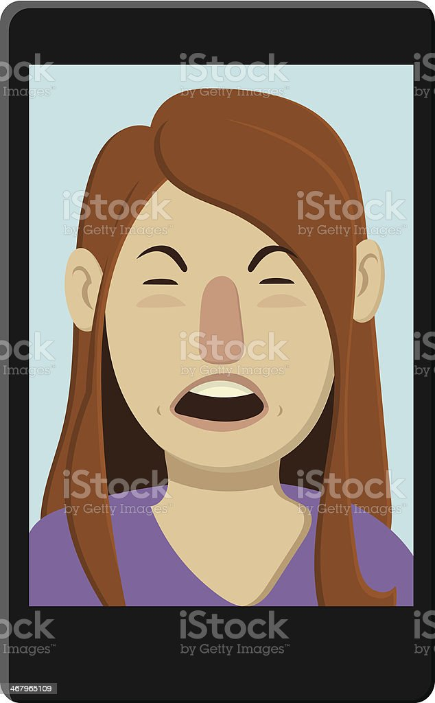 Angry Girl Video Chat vector art illustration