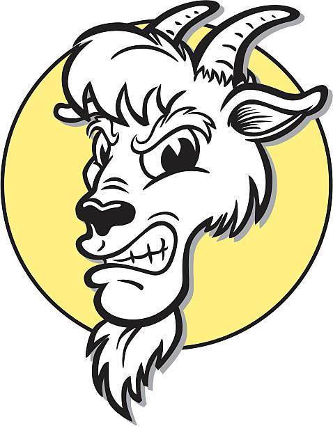 wütende goat-maskottchen - bergziegen stock-grafiken, -clipart, -cartoons und -symbole