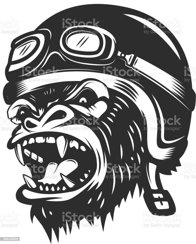 Mono gorila enojado en el casco del corredor. Elemento de diseño de  etiqueta 31bf69a5536f0