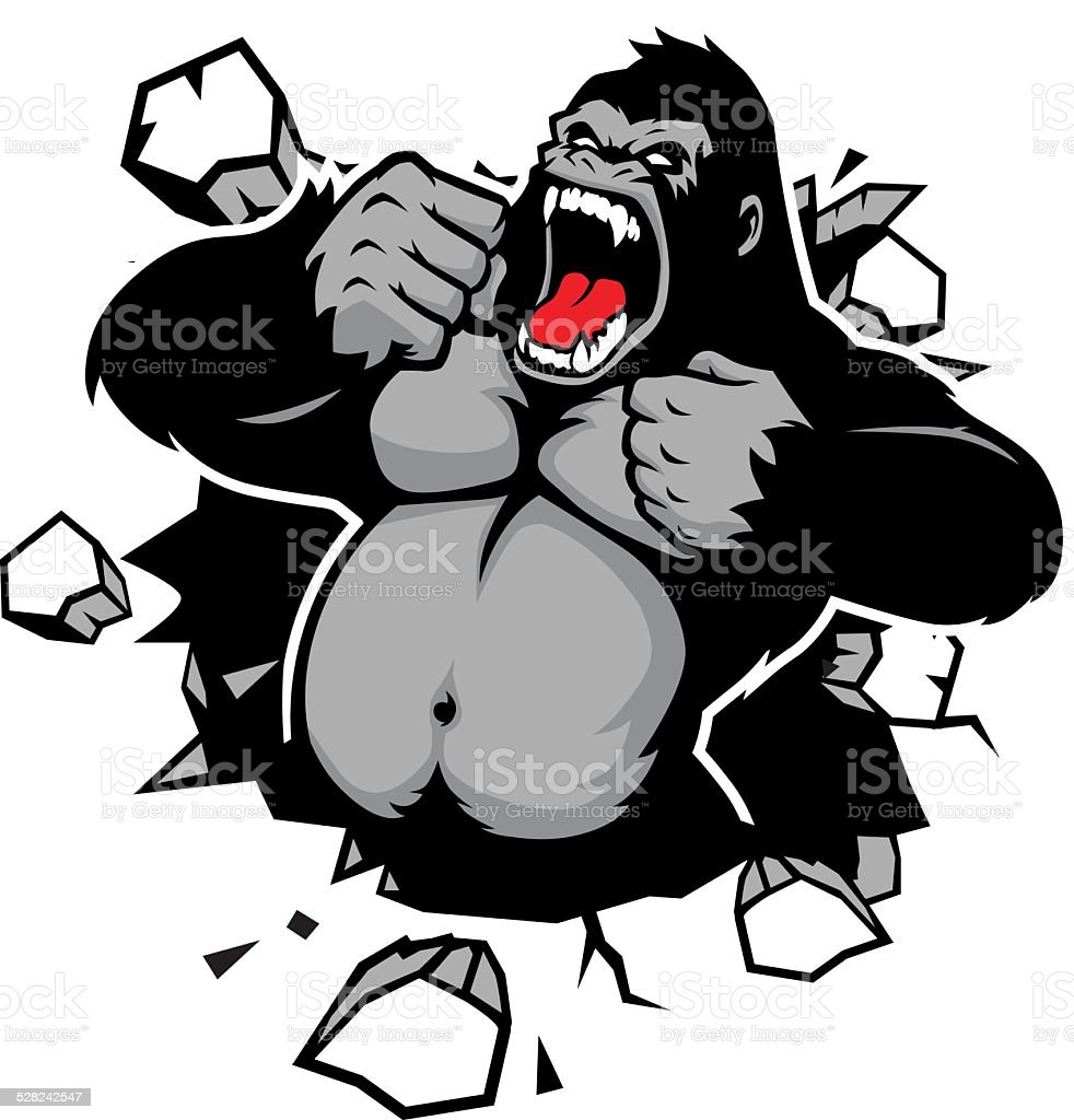 angry gorila romper la pared - ilustración de arte vectorial