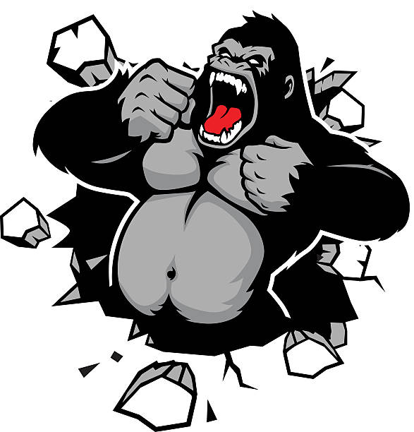 angry gorilla breaking the wall - gorilla stock illustrations