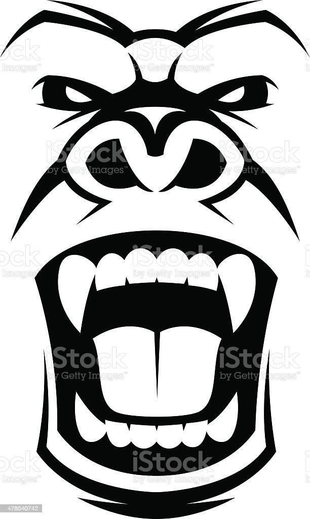 Angry gorilla head vector art illustration