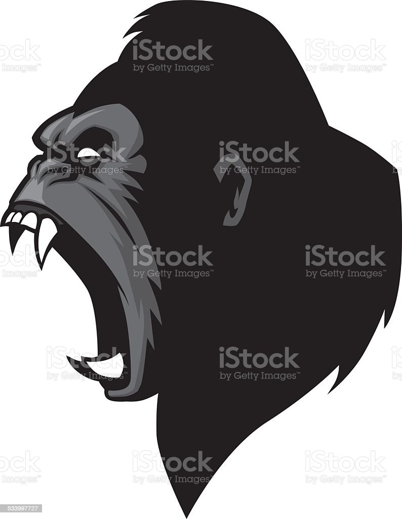 angry gorilla head vector art illustration