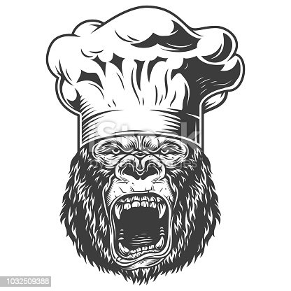 istock Angry gorilla in monochrome style 1032509388