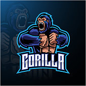 Illustration of Angry gorilla mascot logo desain