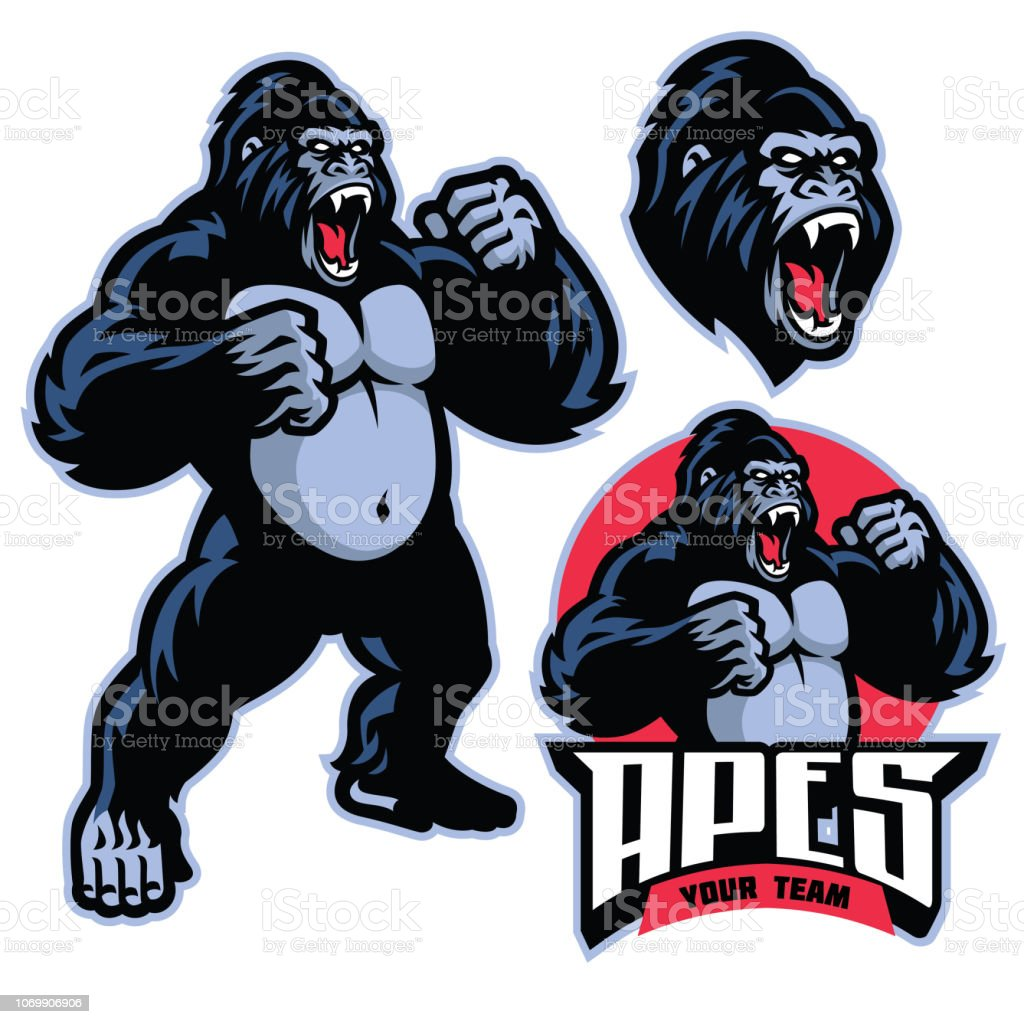 angry gorilla mascot standing royalty-free angry gorilla mascot standing stock illustration - download image now