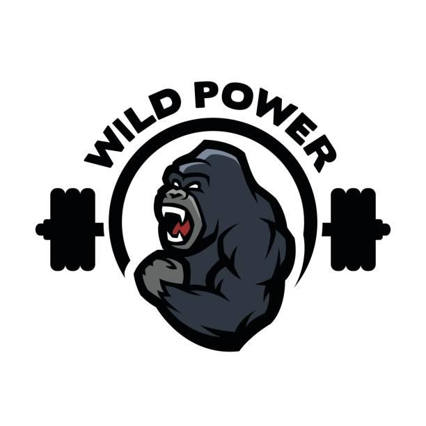 ilustraciones, imágenes clip art, dibujos animados e iconos de stock de gorila enojado. símbolo del gimnasio de deportes. - gorila