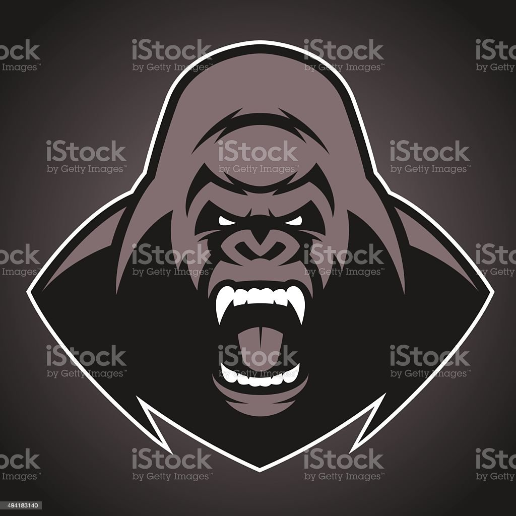 Angry gorilla symbol vector art illustration