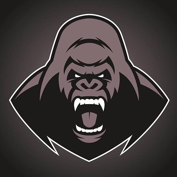 ilustraciones, imágenes clip art, dibujos animados e iconos de stock de angry gorila símbolo - gorila