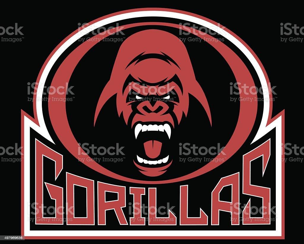 Angry gorilla symbol vector art illustration