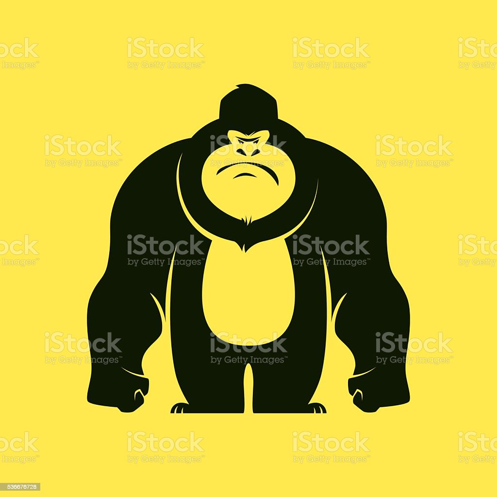 angry gorilla vector art illustration
