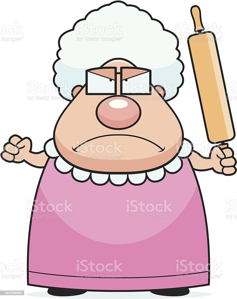 Angry Grandma vector art illustration