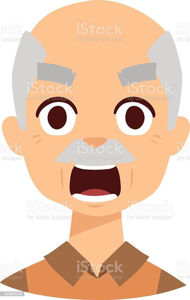 Abuelo enojado ilustración de vectores - ilustración de arte vectorial