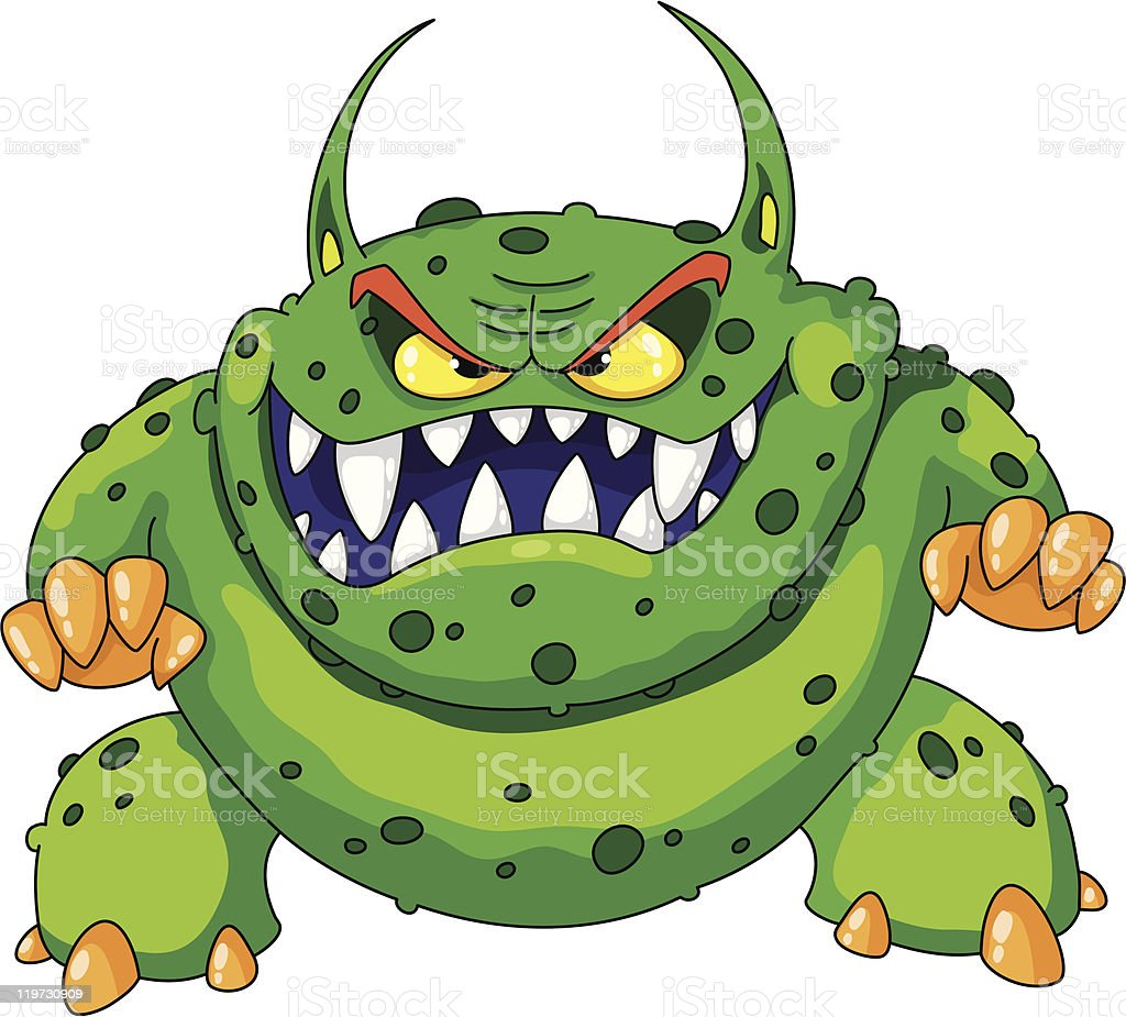 angry green monster royalty-free stock vector art
