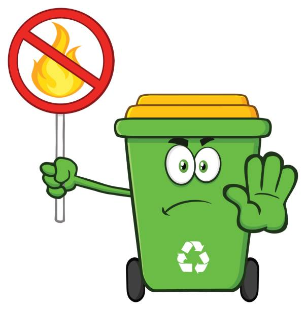 angry green recycle bin cartoon mascot character gesturing stop and holding a fire restricted sign - dumpster fire stock illustrations
