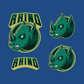 angry green rhino graphic mascot esport logo vector illustration