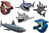 Angry grey, white and hammerhead sharks cartoon characters