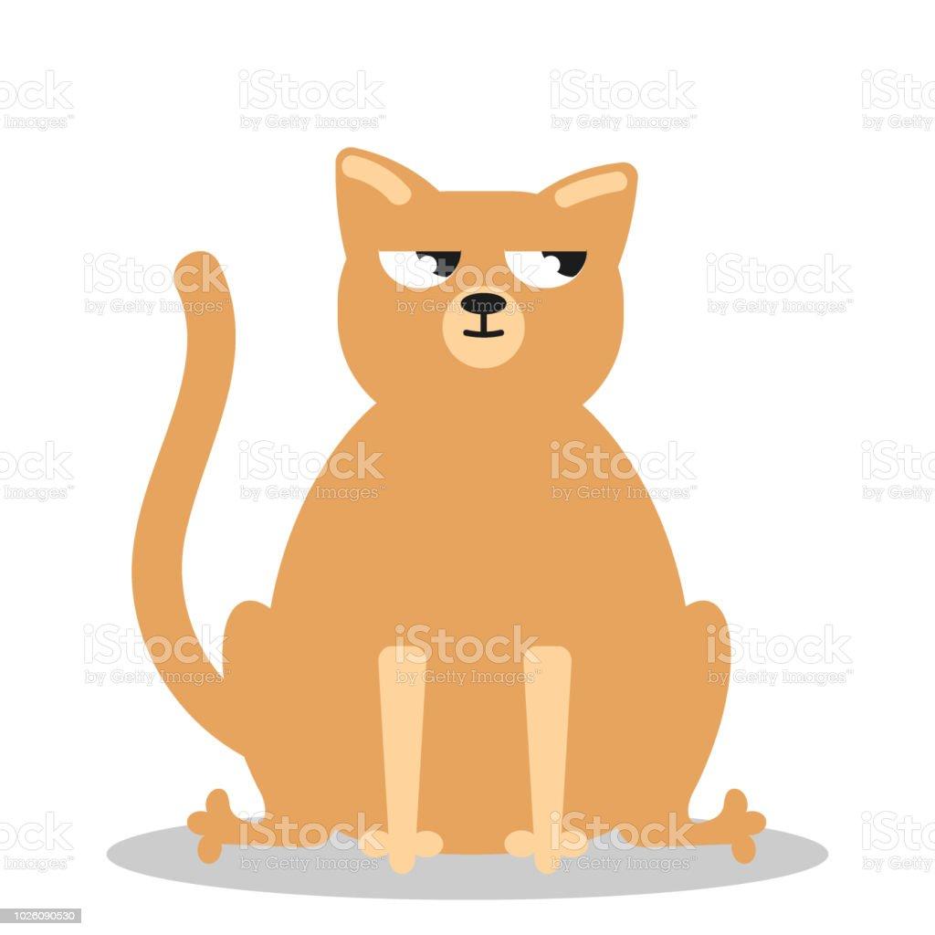 Angry grumpy cat flat vector vector art illustration