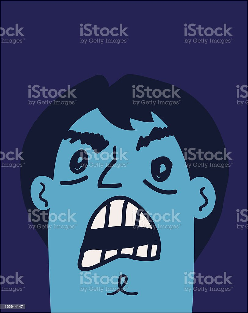 Angry Guy Yelling 'till He's Blue in the Face vector art illustration