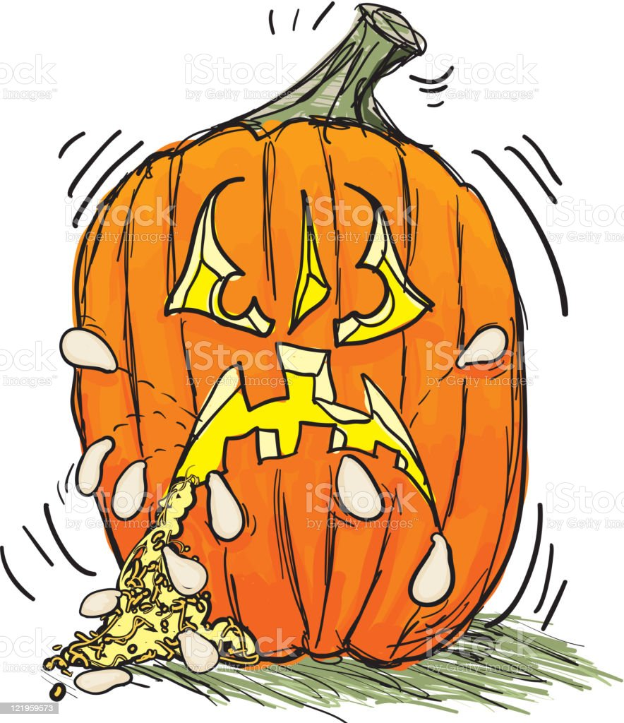 Angry Halloween Pumpkin Barfing seeds! royalty-free stock vector art
