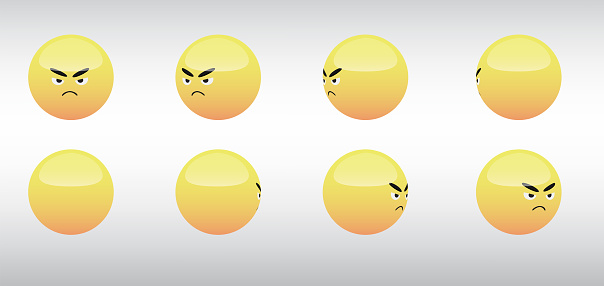 3D Angry Head Emoticon Spinning Social Media Icons Vector