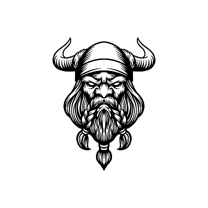 Angry Head Viking Mascot Logo Silhouette illustrations for your work Logo, mascot merchandise t-shirt, stickers and Label designs, poster, greeting cards advertising business company or brands.