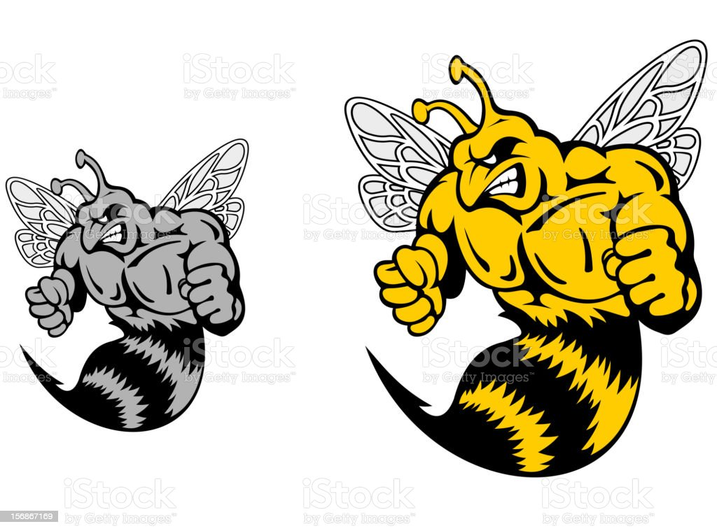 Angry hornet or yellow jacket mascot vector art illustration
