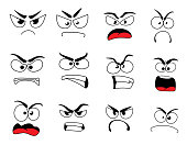 Angry human face with negative emotions icon. Upset emoticon with grumpy, evil and mad smile, furious smiley and irritated emoji cartoon character for feeling, mood or facial expression theme design