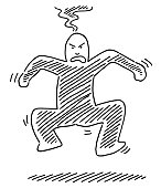 Angry Human Figure Jumping Drawing