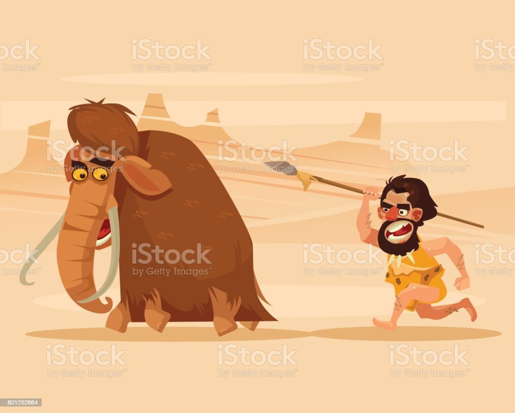 Angry hungry primitive caveman character chasing running hunting mammoth vector art illustration