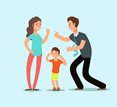 Angry husband and wife swear in presence of unhappy scared kid. Family conflict vector cartoon concept