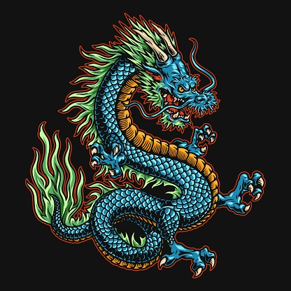 Angry japanese dragon colorful concept