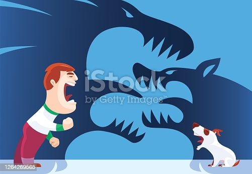 vector illustration of angry kid with barking dog