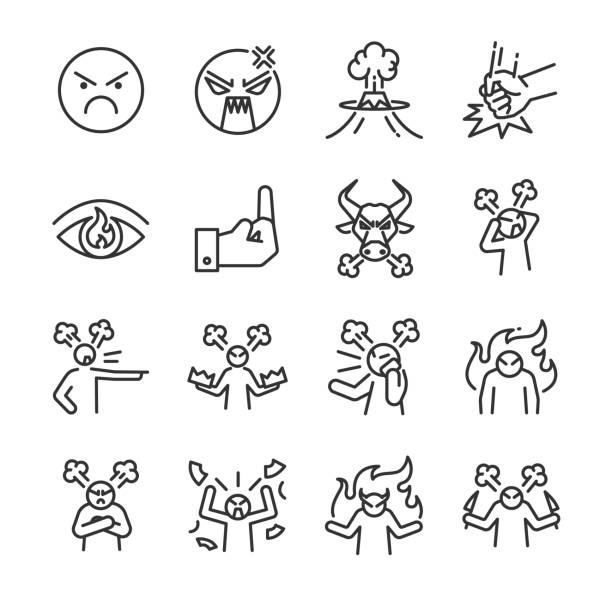 angry line icon set. included the icons as mad, moody, crazy, devil, blame, upset and more. - anger stock illustrations