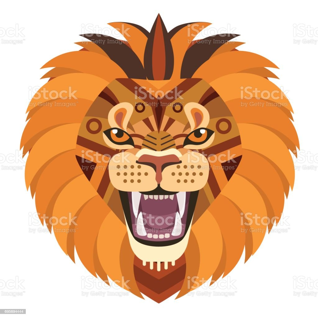 Angry lion head Logo. Vector decorative Emblem. vector art illustration