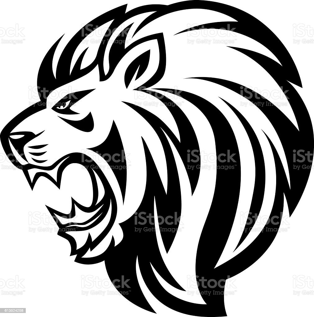 angry lion roaring vector art illustration