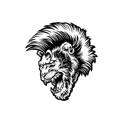 Angry lion with mohawk hair Silhouette illustrations for your work Logo, mascot merchandise t-shirt, stickers and Label designs, poster, greeting cards advertising business company or brands.